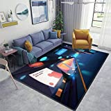 Train in Metro Station at Night time, Empty Subway Platform with Area Rugs Floor Mat Non Slip Throw Rugs Soft Door Mat Nursery Carpet for Living Room Home Indoor Outdoor Runner Rugs Yoga Mat