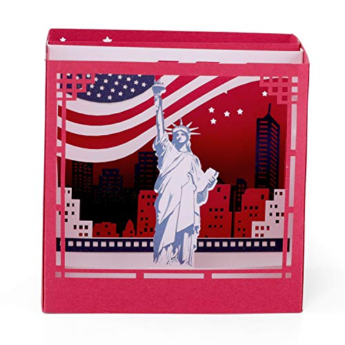 Paper Spiritz New York Pop up Birthday Card Anniversary, Laser Cut 3D pop up card Love all Occasion, Handmade Graduation Thank You Greeting Card for Kids Baby Classmate (Red)