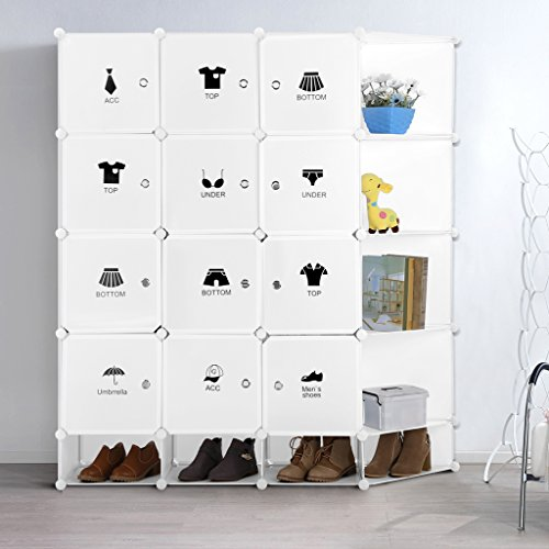 LANGRIA 20-Cube DIY Shoe Rack, Storage Drawer Unit Multi Use Modular Organizer Plastic Cabinet with Doors, Milky White
