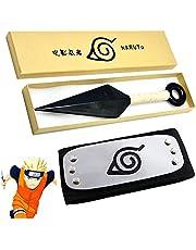 ARSH™ Anime Naruto Ninja Headband 1 Pc with Naruto Kunai 1 Pc, Cosplay Accessory, Leaf Village Headband, Dart for Cosplay or Halloween