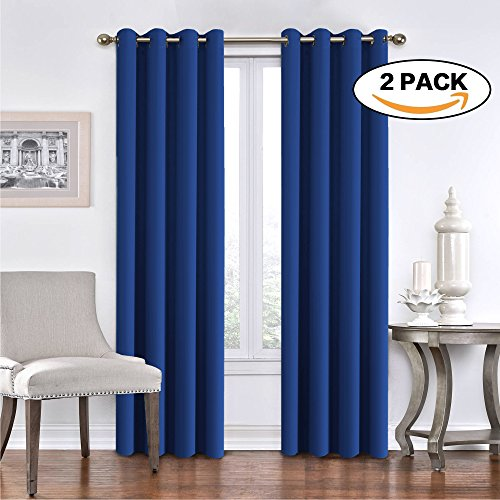 FlamingoP Solid Thermal Insulated Blackout Curtains Drapes Antique Bronze Grommet / Eyelet Royal Blue 52Wx84L Inch (Set of 2 Panels)