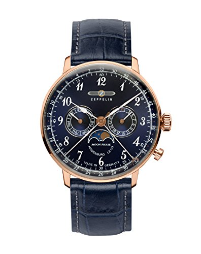 Graf Zeppelin Hindenburg Swiss Quartz Moonphase Calendar Dress Watch 7038-3