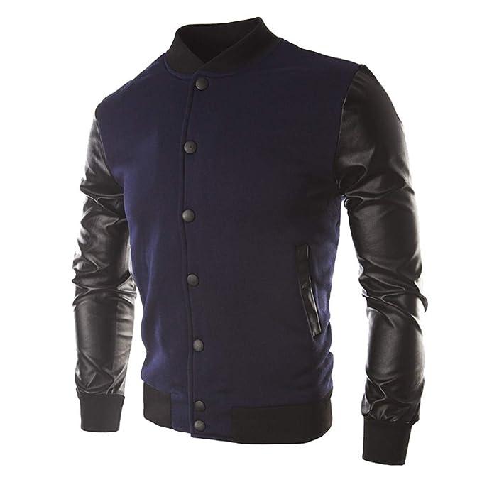 ZODOF Chaqueta de Hombre Hombres otoño Invierno botón Informal Chaqueta Abrigo Cuero Ropa Deportiva Blusa Superior