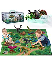 TEMI Dinosaur Toy Figure w/ Activity Play Mat & Trees, Educational Realistic Dinosaur Playset to Create a Dino World,for Kids