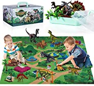 TEMI Dinosaur Toy Figure w/ Activity Play Mat & Trees, Educational Realistic Dinosaur Playset to Create a