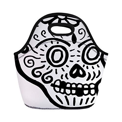 Tinmun Lunch Tote Bag Dead Skull Teeth Missing Represented in Black and White Reusable Neoprene Bags Insulated Thermal Picnic Handbag for Women Men -