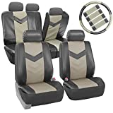 FH-PU021115 Synthetic Leather Auto Seat Covers w. Accessories Light / Dark Gray