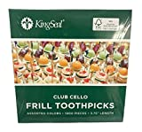 KingSeal FSC Certified Sustainably Sourced Natural Birch Club Frill Sandwich Toothpicks, Picks, Assorted Colors, 3.75 Inch Length - 2 Packs of 1000 per Case