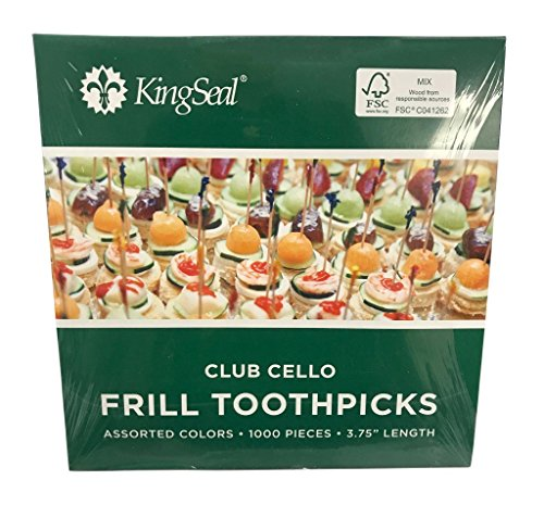 KingSeal FSC Certified Sustainably Sourced Natural Birch Club Frill Sandwich Toothpicks, Picks, Assorted Colors, 3.75