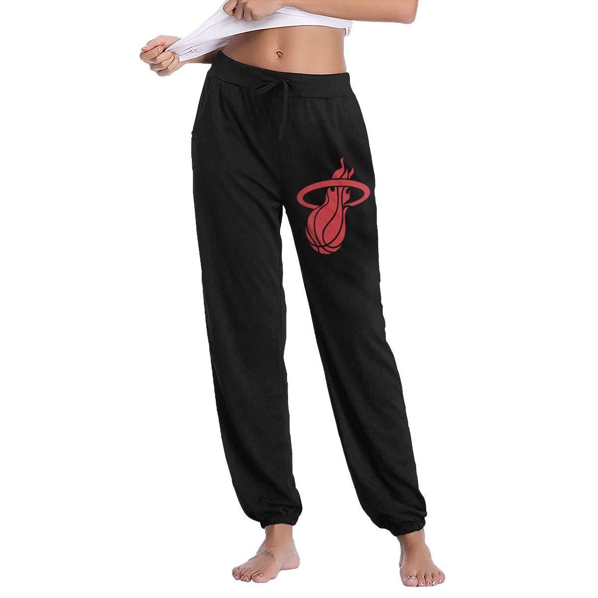 Black L GavDon Women's MiamiHeatLogo Casual Sweatpants Yoga Jogger Lounge Sweat Pants with Pockets