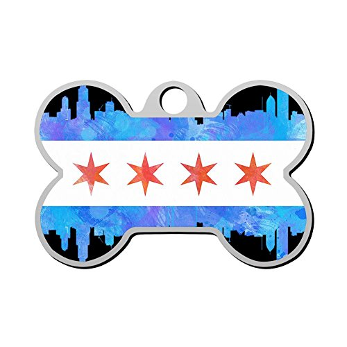 MYNF-2 Flag Map Of Chicago Personalized Engraved Front & Back Dog Tags Pet ID Tags For Cat & ()