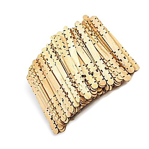 """Durable, Strong & Non-Toxic {4.5"""" X .38"""" Inch} 80 Count of Mid-Size & Thin Multi-Purpose Craft Sticks for DIY, Food, Beauty & More, Made of Baltic Birch Wood w/ Building Notches Notched Shape {Tan}"""