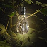 LiPing LED Waterproof Solar Rotatable Outdoor Garden Camping Hanging String Light Warm White- Soothing DécorationElegant Rope Light Suitable for Christmas, Weddings. (Silver)