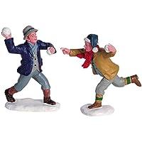 2006 Snowball Fun Set of 2 Christmas Village Figurines