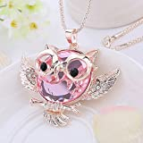 SP Women Fashion Owl Crystal Rhinestone Pendant Necklace Sweater Chain Jewelry#by pimchanok shop (#2)