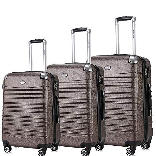 """Travel Joy Expandable Luggage Set, Suitcases TSA Lightweight Spinner Luggage Sets, Carry On Luggage 3 Piece Set (COFFEE, 3 pcs set(20""""24""""28""""))"""
