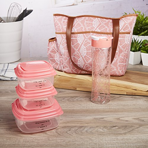 Fit & Fresh Pleasantview Lunch Kit with BPA-free Food Containers and Water Bottle, Coral Floral Shell Bottle Lunch Box