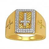 Silvercz Jewels 14K Yellow Gold Fn Cross Ring 16mm Wide 0.25 Ct D/VVS1 Diamonds Men's Ring