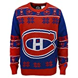 NHL Montreal Canadiens Boys 8-20 Long Sleeve Ugly Sweater, X-Large (18), Red/Navy