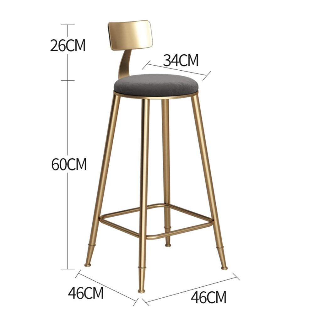 gold-Black 60cm DDLD Bar Stools, golden Iron Art Bar Chair Strong and Durable Bar Stool Table with Backrest Soft Padded Chairs color Height Optional for Breakfast Bar, Counter, Kitchen