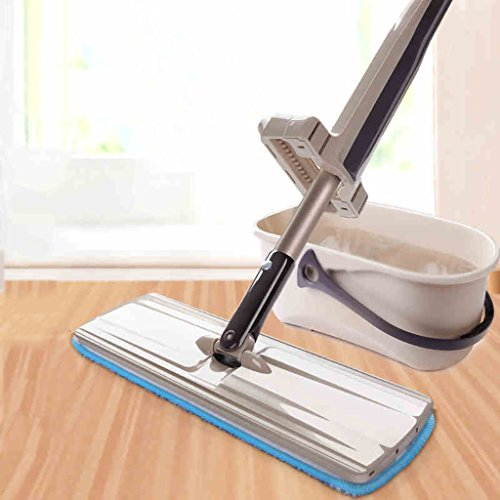 (LIZHIQIANG Automatic Mop Rotary Mop Bucket Roller Household Hand-wash Wet And Dry Flat Mop Mop ( Style : With barrel ))