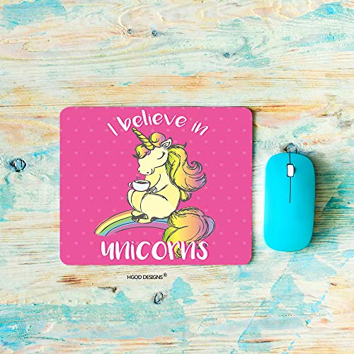 (HGOD DESIGNS Unicorn Gaming Mouse Pad,Funny Horse with Horn Drink Tea and Lettering I Believe in Unicorns Mousepad Rectangle Non-Slip Rubber Mouse Pads(7.9
