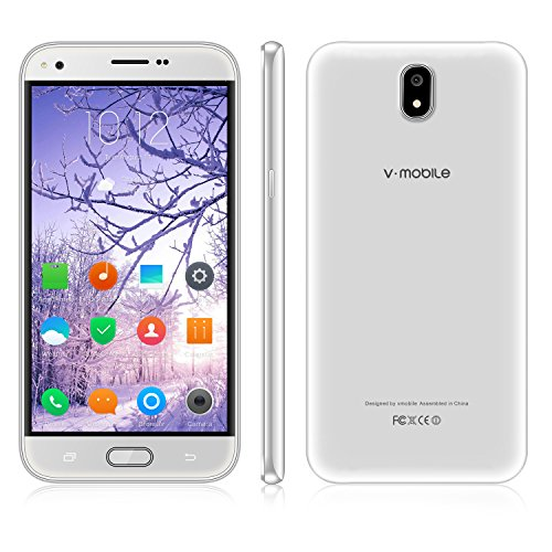 Unlocked Cell Phone,V Mobile J5-N 5.5 Inch 8GB ROM Android 7.0 Dual Sim 5MP Camera 3G Smartphone Cheap and Fine Quad-core Supports WI-FI Bluetooth GPS for at&T T-Mobile(White) by V·Mobile