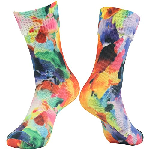 RANDY SUN 100% Waterproof Camping Socks, [SGS Certified] Men's Women's Hiking Sock Snow Skiing Snowboard Fun Color Athletic Socks Large