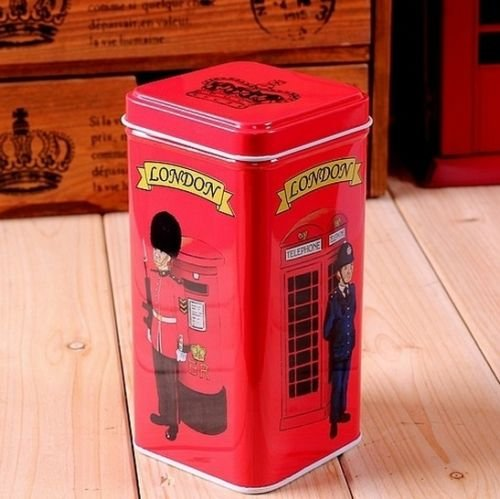 UK British Flag Big Ben Guard Bridge Telephone Coffee Tea Container Jar Tin Box #6 (British Tea Canister compare prices)