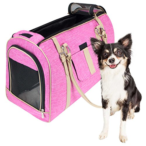 (FrontPet Airline Approved Soft Pet Carrier, Stylish Pink Pet Carrier Purse with Faux Leather Accents and Padded Fleece Insert, Pet Carrier Purse, Large,)