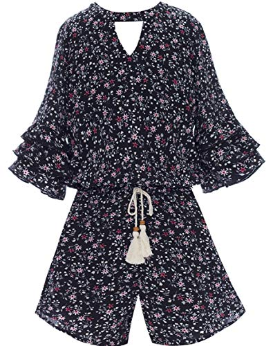 Smukke, Big Girls Floral Printed Tier Ruffle Sleeves Romper (Many Options) with Pockets, 7-16 (7, Black)]()