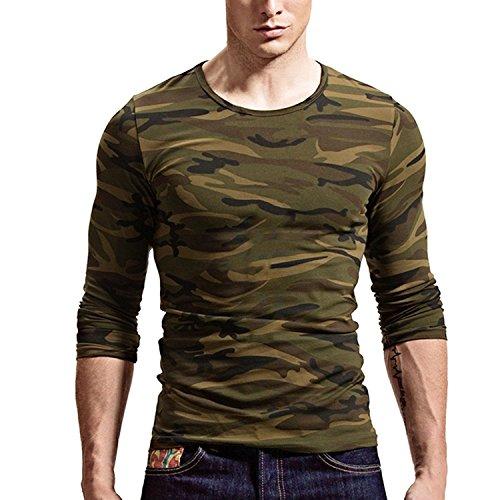 Men T-Shirt Crew-Neck (US Large, Camouflage) ()