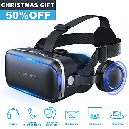 Pansonite 3D VR Headset Virtual Reality Glasses - 360 Panoramic with Built-in Stereo Headphones - Large Viewing Immersive Experience VR Headset HD VR Goggles for VR Games and 3D Movie Compatible