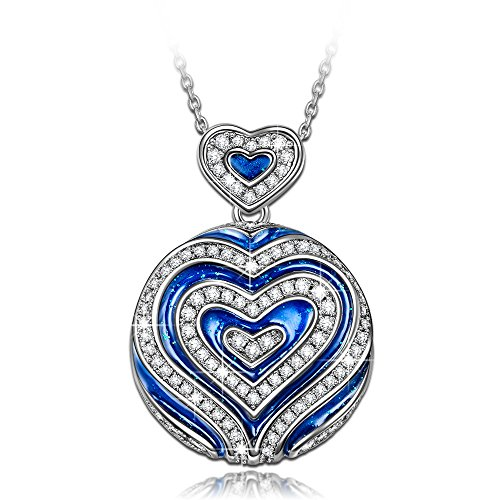 NINASUN Women Necklace I LOVE YOU TO THE MOON AND BACK Pendant Necklace s925 Sterling Silver Blue Heart Jewelry for Women Anniversary Birthday Gift for Wife Her Mom Grandma Gifts for Women