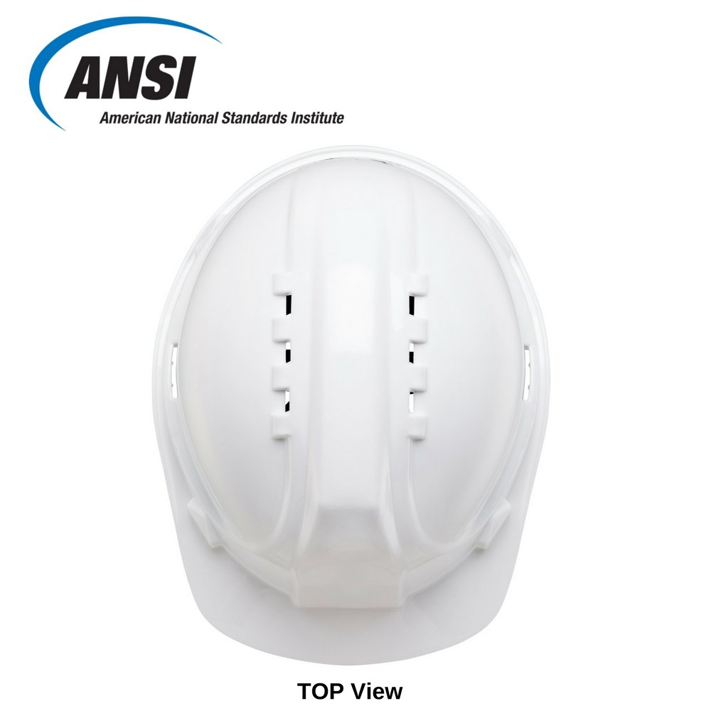 Safety Hard Hat by AMSTON - Adjustable Construction Helmet With 'Keep Cool' Vents - Meets OSHA/ANSI z89.1 Standards - Personal Protective Equipment, Home Improvement, DIY (White) by Amston Tool Company (Image #4)