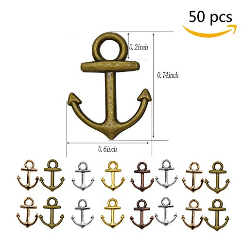 Anchor Small Charm (YUEKUI 50pcs Anchor Charms Pendant Jewelry Making Accessory Bronze Antique Charms 2810mm)