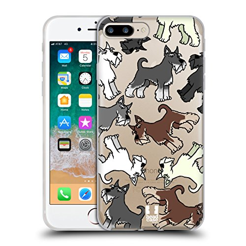 (Head Case Designs Miniature Schnauzer Dog Breed Patterns 2 Soft Gel Case for iPhone 7 Plus/iPhone 8 Plus )