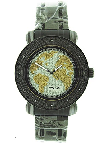 King Master 12 Diamond Watch with World Map Face