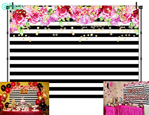 Qian Photography Backdrops Black and White Stripe Background Pink Rose Flower Birthday Party Wedding Photo Studio Booth 7X5FT 012]()