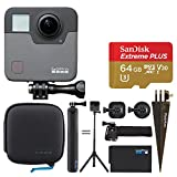 GoPro Fusion + SanDisk 64GB Extreme PLUS UHS-I microSDXC Memory Card with SD Adapter + Brown Spike Mount for GoPro + Wrist Strap Band Mount for GoPro – Complete Action Camera Bundle