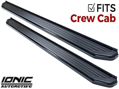 Ionic 41 Series Black (fits) 2014-2018 Chevy Silverado GMC Sierra 1500 & 2015-2018 2500 3500 Gas Crew Cab ONLY Running Boards Side Steps (41108681071)