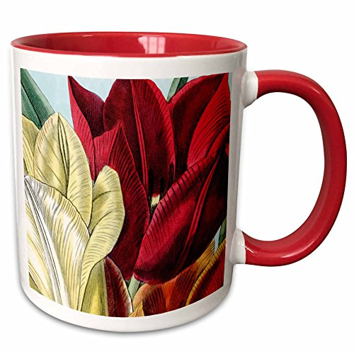 PS Vintage - Vintage Tulip Flowers - 11oz Two-Tone Red Mug (mug_203816_5)