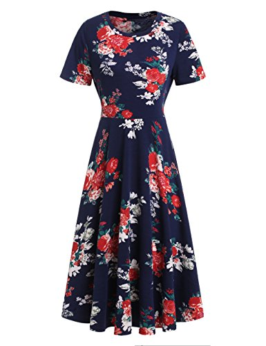 MakeMeChic Women's Short Sleeve Casual Summer Flared Tunic Swing Midi Dress Burgundy 3 M