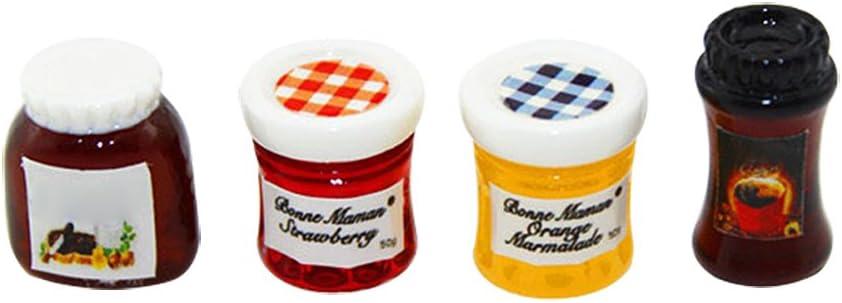 zhenleisier Dollhouse Model,1/6 1/12 Miniature Kitchen Food Coffee Jam Dollhouse Accessory Pretend Play Toy