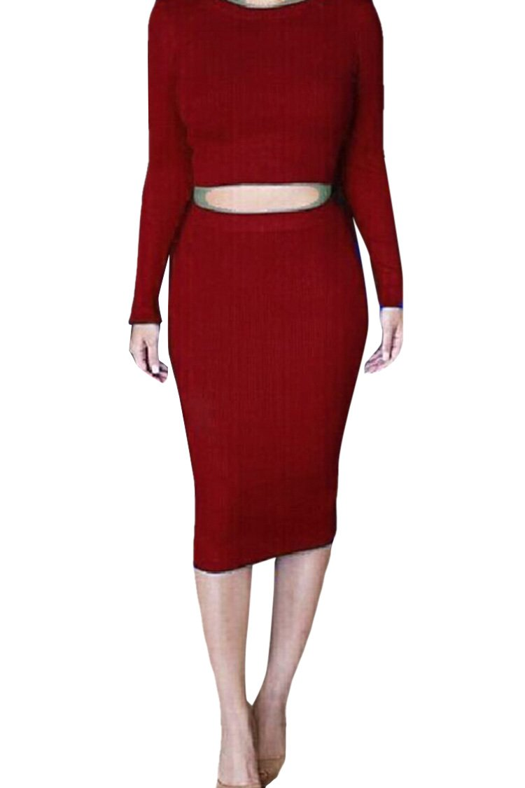 Pink Queen Womens Crop Top Midi Skirt Outfit Two Pieces Bodycon Dress XL Red