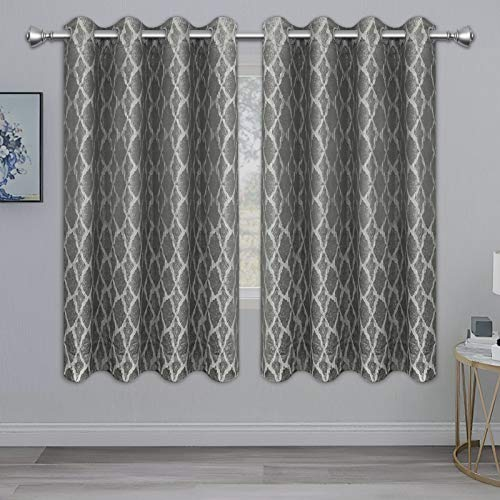 PureFit Jacquard Blackout Curtains for Bedroom, Cold/Heat/Sun Blocking and Noise Reduction Thermal Insulated Window Drapes