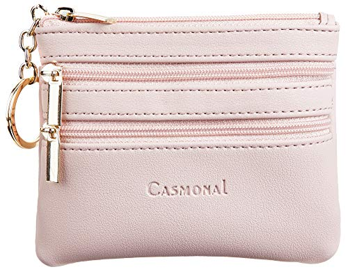 Casmonal Womens Genuine Leather Coin Change Purse Pouch Slim Minimalist Front Pocket Wallet Key Ring (Pink Champagne)
