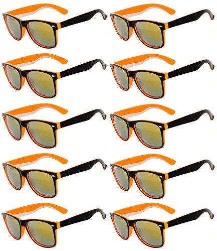 10 Pairs New Stylish Retro Vintage Two Tone Sunglasses Multicolor Mirror Lens Orange - Bulk Sunglasses Orange