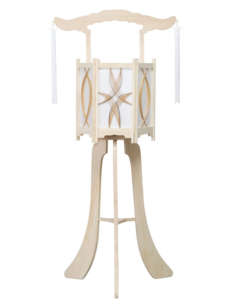 盆提灯 上変形灯 白木灯 白山 1号 花柄風車付 回転 電気コード式 h308-ymt-0915 B00DVE6SKI