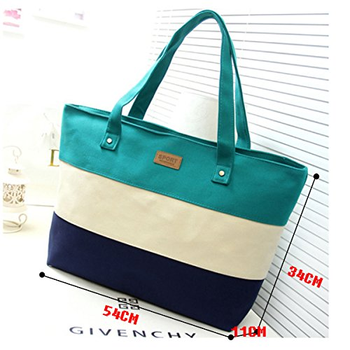 Stitching HAUTE Canvas Three color Womens Bag Stripes Tote Green Handbag LA Shoulder Red Rose Fashion pyzcdqq